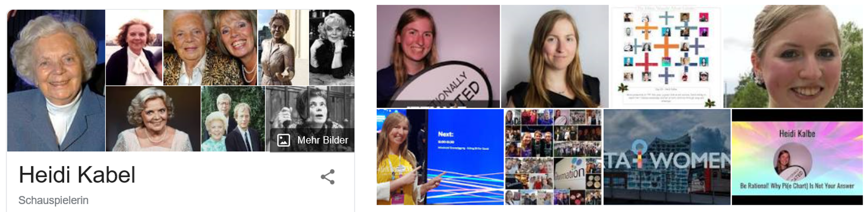 Google: Did you mean Heidi Kabel? No, I meant Heidi Kalbe.