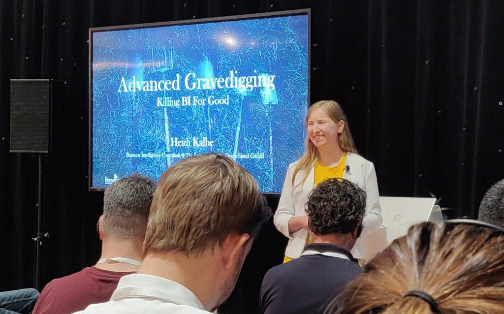 Heidi Kalbe speaking at Tableau Conference 2019 Europe: Advanced Gravedigging, Killing BI For Good.
